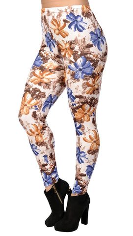 White Blue and Orange Floral Leggings Design 408