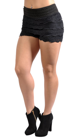 Black Multi-Layered Crochet Shorts Design 8001