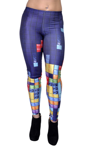 Dark Blue Tetris Leggings Design 20