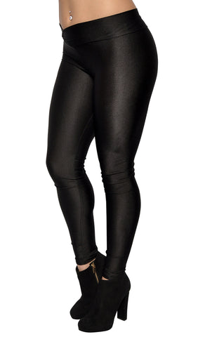 Black Shiny V-waist Leggings Design 310