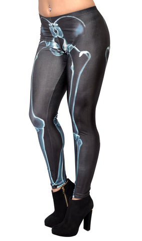 Black with Blue X-ray Skeleton Bones Leggings Design 77