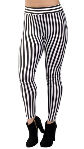 Black And White Vertical Stripes Leggings Design 232
