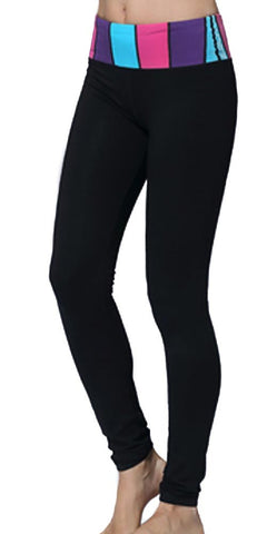 Black with Colorful Band Yoga Leggings Design 544