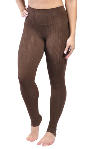 Coffee Ribbed Stirrup Leggings Design 299