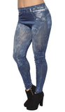 Blue Distressed Faux Denim Leggings Design 456