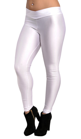Shiny White V-waist Leggings Design 319