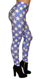 Blue with White Five Point Stars Leggings Design 263