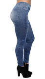 Blue Patched Denim Leggings Design 134