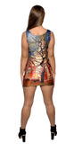 Old Country Oil Painting Above Knee Sleeveless Mini Dress Design 3089