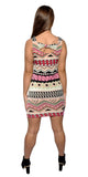 Colorful Aztec Sleeveless Mini-Dress Design 3103