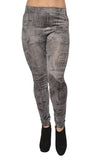 Black Stonewashed Denim Patchwork Leggings Design 73