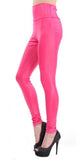 Pink Faux Leather High Waist Leggings Design 368