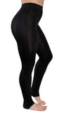 Black Ribbed Stirrup Leggings Design 298