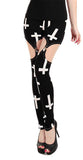 Black with Large White Crosses Garter Leggings Design 14001