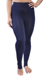 Blue Ribbed Stirrup Leggings Design 301