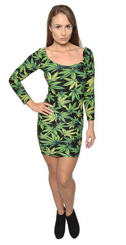 Cannabis Krush Long Sleeve Mini Dress Design 3033