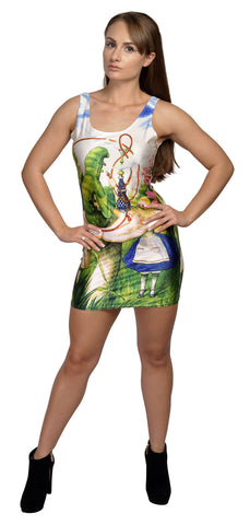 Alice in Wonderland Above Knee Sleeveless Mini Dress Design 3102