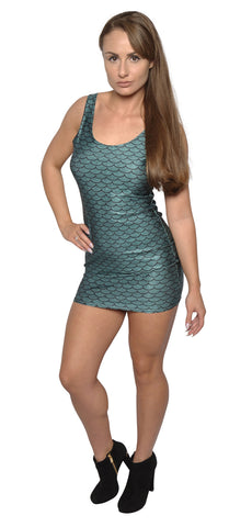 Teal Mermaid Sleevless Mini Dress Design 3025