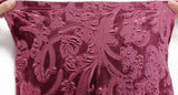 Wine Red Embossed Velvet Leggings Design 115