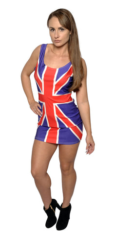 British Flag Above Knee Sleeveless Mini Dress Design 3071