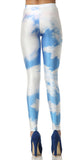 Blue And White Clouds Leggings Design 256