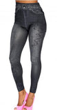 Black Faux Denim Leggings Design 450