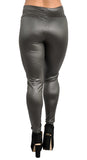 Army Green High Waist Faux Leather Leggings Design 364