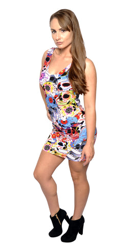 Day of the Dead Sleeveless Mini Dress Design 3056