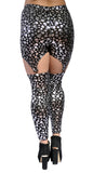 Black with Silver Skulls Garter Leggings Design 169