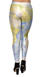 Blue and Green Earth Map Leggings Design 213