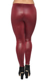 Dark Red Faux Leather Leggings Design 420