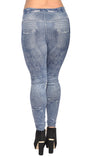 Blue Faux Distressed Denim Jeans Leggings Design 84