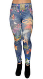 Women's Blue Faux Denim w Butterly Artwork Leggings Size Medium