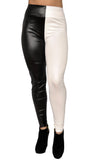 Black and White Faux Leather Leggings Design 129