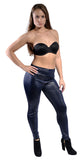 Dark Blue Faux Leather High Waist Leggings Design 365