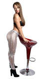 Shiny Silver Cutout Leggings Design 149