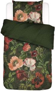 Essenza Flanell Bettwäsche Esmee Blumen Dark green