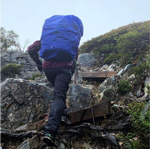Hiker with pack and ArmaSkin scaling hill