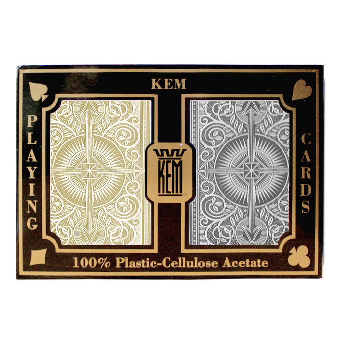 Kem Arrow Standard Index (Black & Gold) - 2 Deck Set - Gutshot Poker Supply