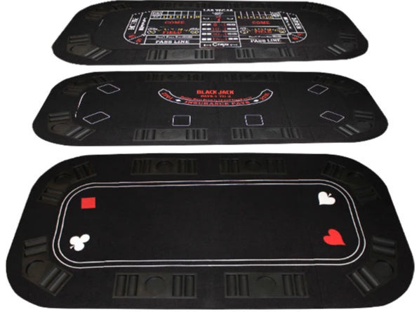 3-In-1 Poker, Craps, & Blackjack Folding Table Top - Gutshot Poker Supply