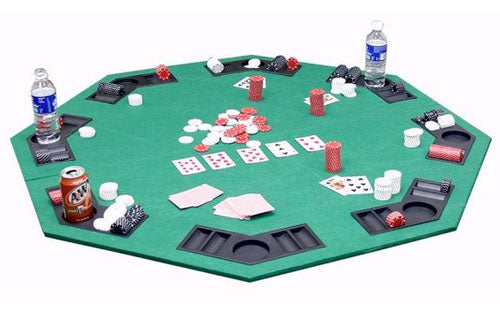 2-in-1 Octogonal Folding Poker & Blackjack Table Top w/ Case (Green) - Gutshot Poker Supply