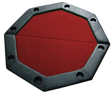 "Load image into Gallery viewer, 48"" Octagonal Folding Table Top w/ Padded Rail (Red) - Gutshot Poker Supply"