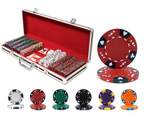 Ace King Suited - 500 Piece Set (Black Aluminum) - Gutshot Poker Supply