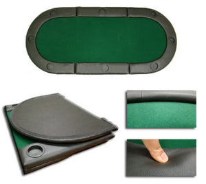 "Green 72""x32"" Tri-Fold Poker Table Top (with Cupholders) - Gutshot Poker Supply"