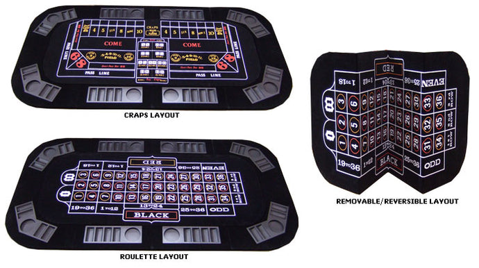 3-in-1 Poker, Craps, & Roulette Folding Table - Gutshot Poker Supply