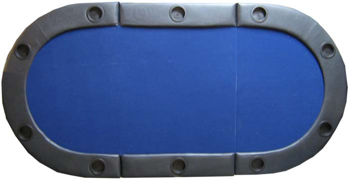 82'' x 40'' Stadium-Style Folding Poker Table Top with Padded Rail (Blue) - Gutshot Poker Supply