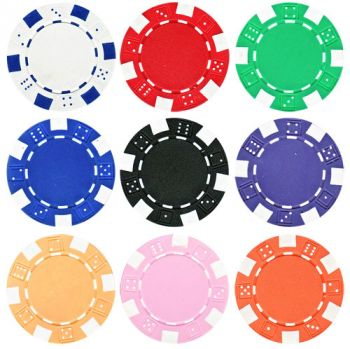 Striped Dice Poker Chips - 25 Pieces - Gutshot Poker Supply