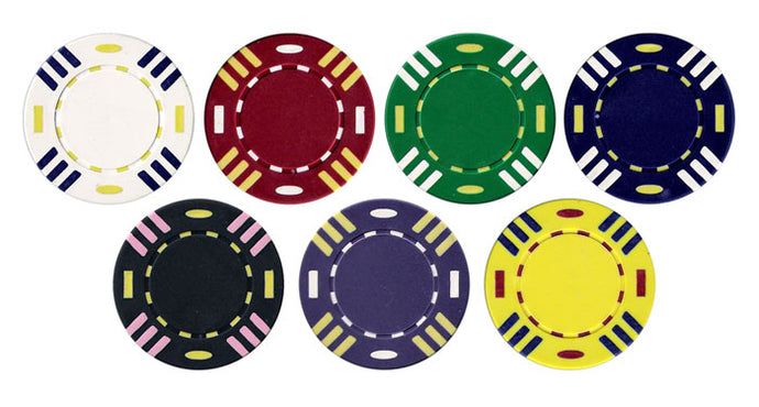 Triple Striped Poker Chips - 25 Pieces - Gutshot Poker Supply