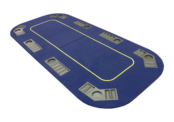 78'' x 36'' Folding Poker Table Top with Cupholders (Blue) - Gutshot Poker Supply