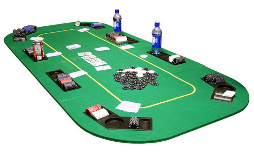 78'' x 36'' Folding Poker Table Top with Cupholders (Green) - Gutshot Poker Supply
